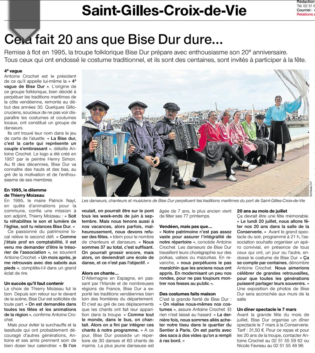 Article ouest france bise dur du 31 01 2015